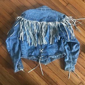 Vintage fringe jean jacket